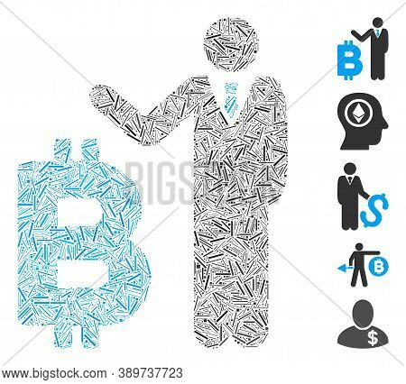 Line Mosaic Based On Bitcoin Banker Icon. Mosaic Vector Bitcoin Banker Is Created With Scattered Lin