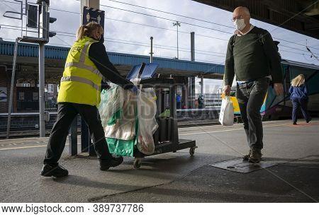 Doncaster, Yorkshire, Northern England -  October 7, 2020. Cleaner From Lner (london North Eastern R