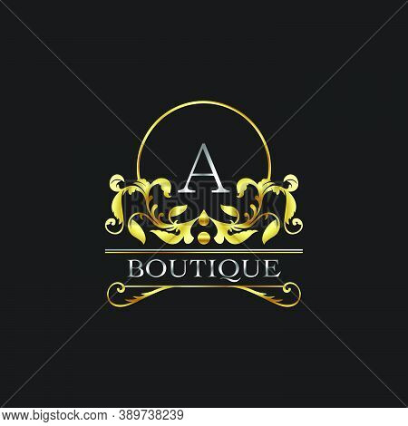 Stylish Graceful Golden Luxury A Logo. Elegance Vector Template Made Of Wide Silver Alphabet With Li