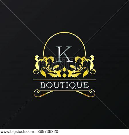 Stylish Graceful Golden Luxury K Logo. Elegance Vector Template Made Of Wide Silver Alphabet With Li