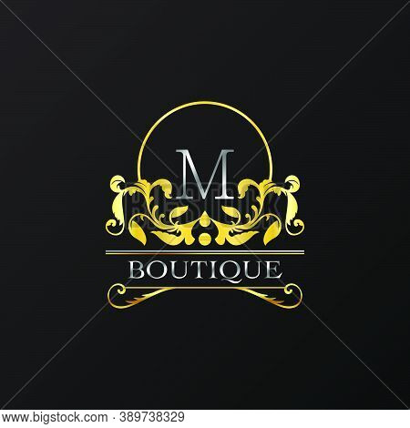 Stylish Graceful Golden Luxury M Logo. Elegance Vector Template Made Of Wide Silver Alphabet With Li