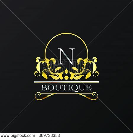 Stylish Graceful Golden Luxury N Logo. Elegance Vector Template Made Of Wide Silver Alphabet With Li