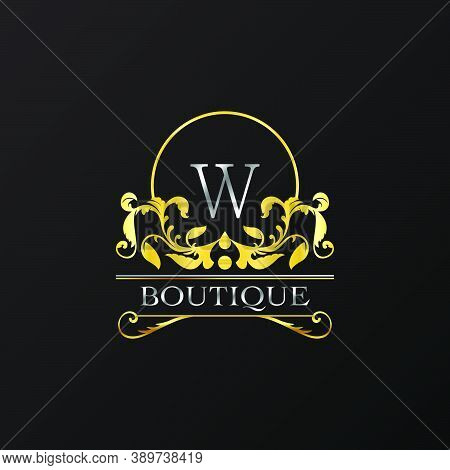 Stylish Graceful Golden Luxury W Logo. Elegance Vector Template Made Of Wide Silver Alphabet With Li