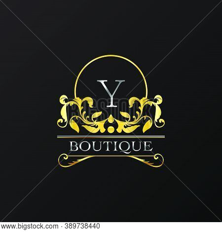 Stylish Graceful Golden Luxury Y Logo. Elegance Vector Template Made Of Wide Silver Alphabet With Li