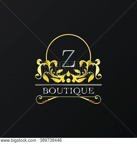 Stylish Graceful Golden Luxury Z Logo. Elegance Vector Template Made Of Wide Silver Alphabet With Li