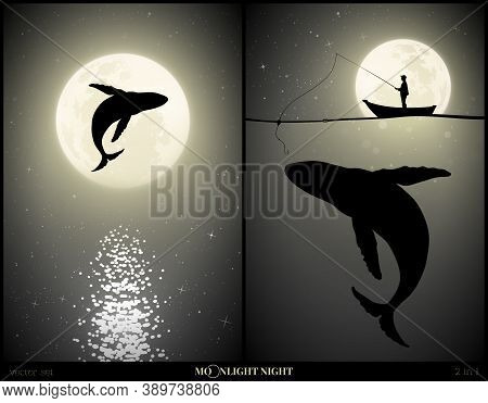 Whale Jumping Above Water On Moonlight Night. Man Silhouette With Fishing Rod And Big Whale Under Wa