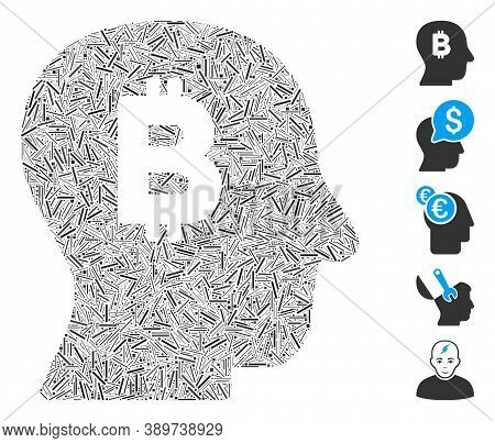Dash Mosaic Based On Bitcoin Mind Icon. Mosaic Vector Bitcoin Mind Is Designed With Random Dash Spot