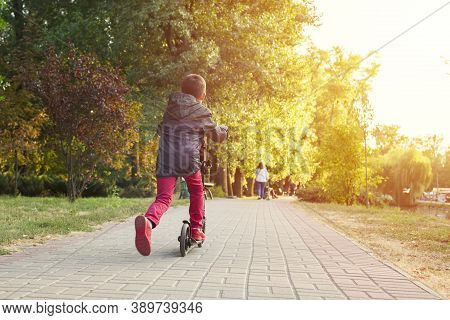 Child On Kick Scooter In Park. A Boy Is Riding On The Kick Scooter In A Park.  The Concept Of A Heal