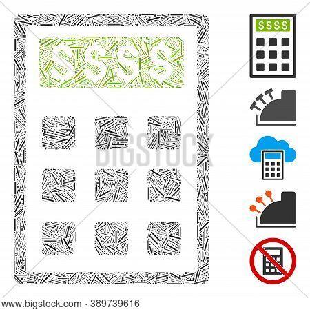 Dash Mosaic Based On Book-keeping Calculator Icon. Mosaic Vector Book-keeping Calculator Is Formed W