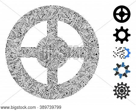 Line Mosaic Based On Brass Blank Wheel Icon. Mosaic Vector Brass Blank Wheel Is Created With Random