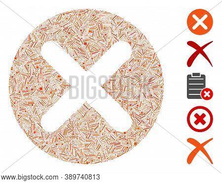 Line Mosaic Based On Cancel Icon. Mosaic Vector Cancel Is Created With Randomized Line Items. Bonus