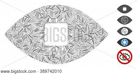Hatch Mosaic Based On Chip Eye Retina Icon. Mosaic Vector Chip Eye Retina Is Designed With Scattered