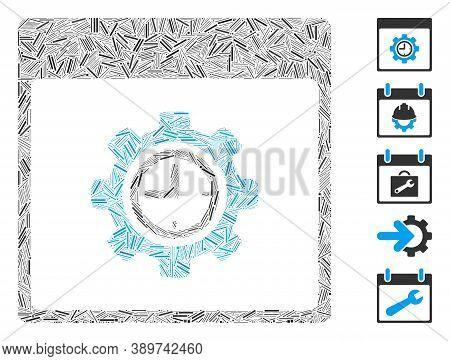 Line Mosaic Based On Clock Configuration Gear Calendar Page Icon. Mosaic Vector Clock Configuration