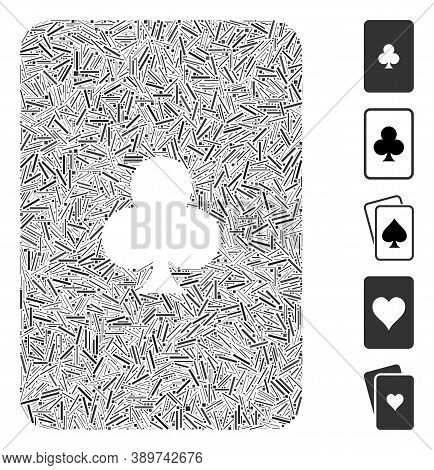 Line Mosaic Based On Clubs Playing Card Icon. Mosaic Vector Clubs Playing Card Is Formed With Random