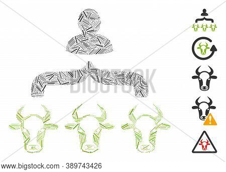 Line Mosaic Based On Cow Shepherd Icon. Mosaic Vector Cow Shepherd Is Created With Scattered Line El