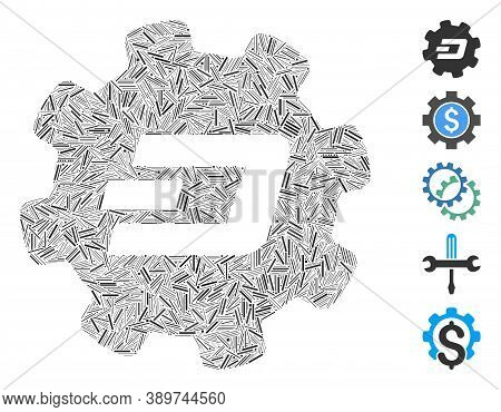Line Mosaic Based On Dash Setup Gear Icon. Mosaic Vector Dash Setup Gear Is Formed With Randomized L
