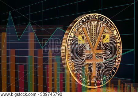 Conceptual Image Chinese Stock Exchange With Digital Currency, Devaluation Of Bitcoin Or Growth Of C