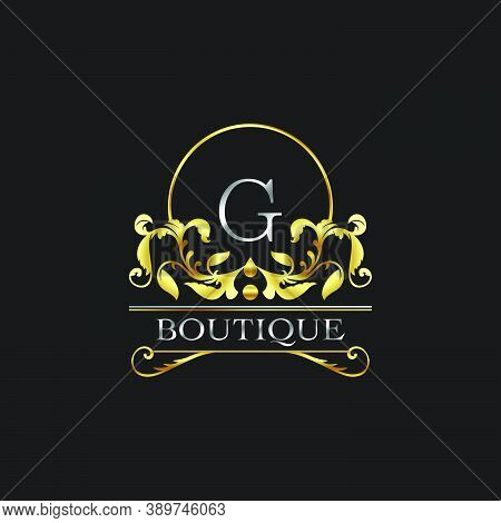 Stylish Graceful Golden Luxury G Logo. Elegance Vector Template Made Of Wide Silver Alphabet With Li