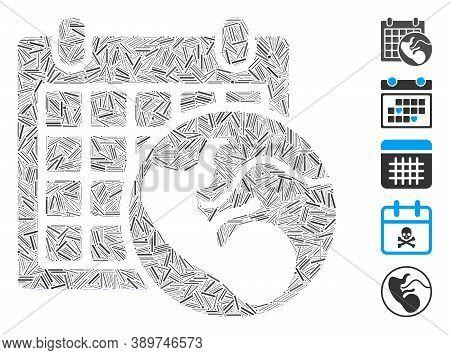 Hatch Mosaic Based On Embryo Calendar Icon. Mosaic Vector Embryo Calendar Is Composed With Randomize