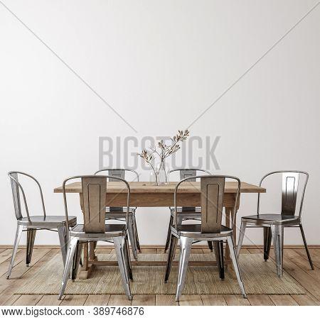Farmhouse Dining Room Interior, Wall Mockup, 3d Illustration