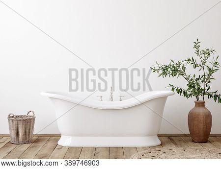White Cozy Bathroom Interior Background, Wall Mockup, 3d Illustration