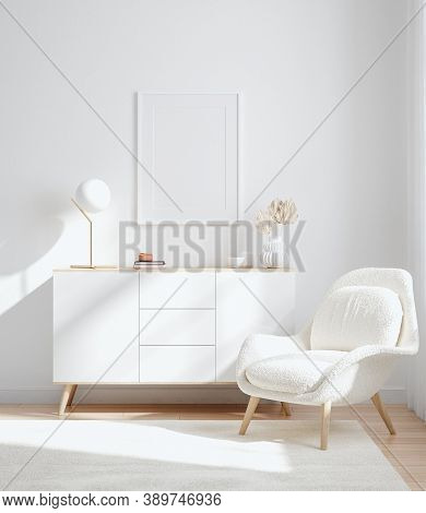 Mockup Frame In Interior Background, Room In Light Pastel Colors, Scandinavian Style, 3d Illustratio