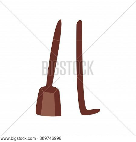 Dustpan And Fireplace Poker. Fireplace Cleaning Tool Set. Hand Drawn Vector Isolated Illustration