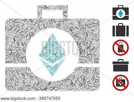 Line Mosaic Based On Ethereum Crystal Case Icon. Mosaic Vector Ethereum Crystal Case Is Designed Wit