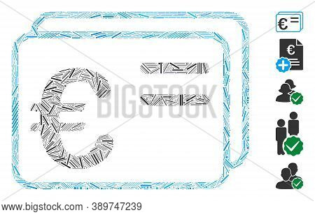 Dash Mosaic Based On Euro Account Cards Icon. Mosaic Vector Euro Account Cards Is Created With Scatt