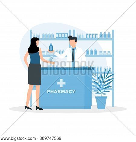 Pharmacist Doctor And Patient In The Drugstore. Woman Buys Drugs At A Pharmacy. Client And Druggist
