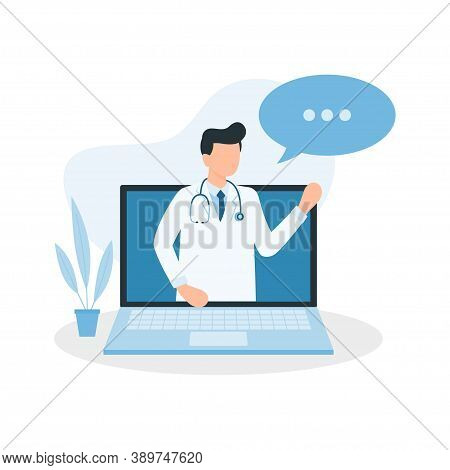 Medical Online Consultation With Doctor Using Laptop. Online Doctor. Vector Illustration.