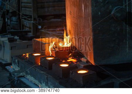 The Chill Mold Cools Down After Pouring Liquid Steel