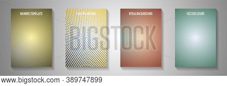 Colorful Dot Faded Screen Tone Cover Page Templates Vector Kit. Business Magazine Perforated Screen