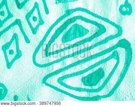 Portugal Ornament. Blue Bohemian Stripes. Art Batik Brush. Aquamarine Spanish Ornamental. Green Bohe