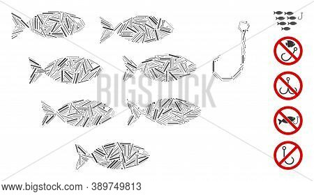 Hatch Mosaic Based On Fish Hook Icon. Mosaic Vector Fish Hook Is Composed With Scattered Hatch Dots.