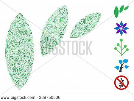 Line Mosaic Based On Flora Leaf Abstraction Icon. Mosaic Vector Flora Leaf Abstraction Is Formed Wit