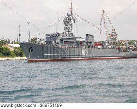 Republic Of Crimea, Sevastopol - July 28, 2019: Ships Of The Black Sea Fleet Of Russia On The Celebr