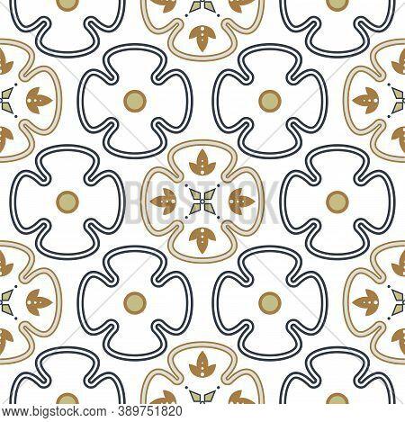 Seamless Vector Geometric Oriental Style Pattern Background. Floral Quatrefoil Geometric Shapes Prin