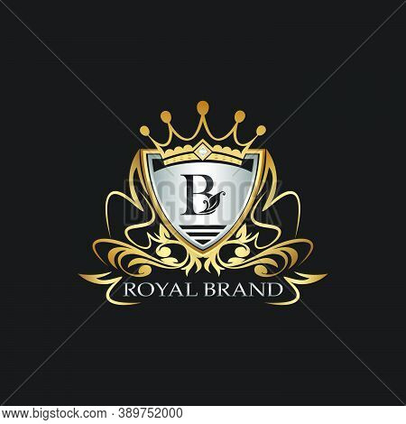 B Letter Gold Shield Logo. Elegant Vector Logo Badge Template With Alphabet Letter On Shield Frame O
