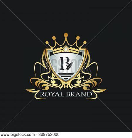 B Letter Gold Shield Logo. Elegant Vector Logo Badge Template With Alphabet Letter On Shield Frame O