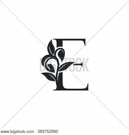 Monogram Nature Floral E Luxury Letter Logo Concept. Elegance Black And White Florist Alphabet Font