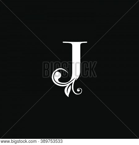 Luxury Letter J Floral Leaf Logo Icon, Simple Classy Monogram Vector Design Concept For Brand Identi