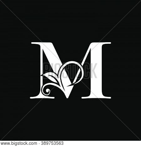 Luxury Letter M Floral Leaf Logo Icon, Simple Classy Monogram Vector Design Concept For Brand Identi