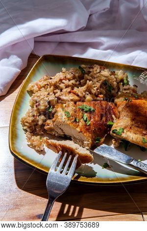 Italian Garlic Boneless And Skinless Chicken Thighs And Creamy Brown Rice With Mushrooms Green Peas