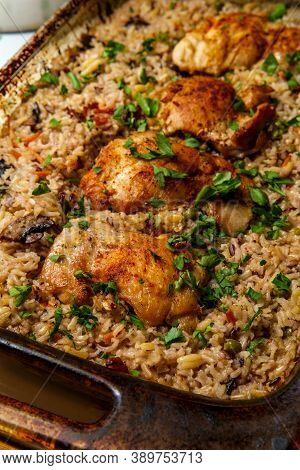 Italian Garlic Boneless And Skinless Chicken Thighs And Brown Rice Casserole With Mushrooms Green Pe