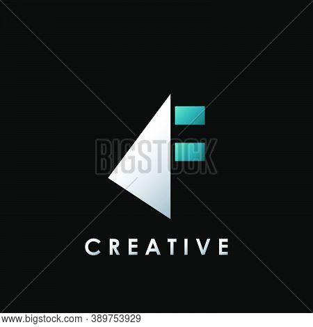 Techno Split Half Letter F Logo Vector Design With Geometrical Triangle Shape.