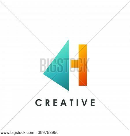 Techno Split Half Letter H Logo Vector Design With Geometrical Triangle Shape.