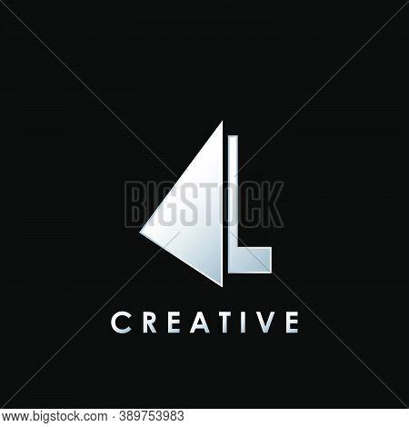 Techno Split Half Letter L Logo Vector Design With Geometrical Triangle Shape.