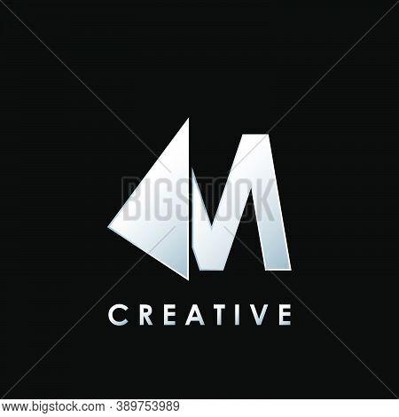 Techno Split Half Letter M Logo Vector Design With Geometrical Triangle Shape.