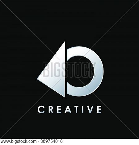 Techno Split Half Letter O Logo Vector Design With Geometrical Triangle Shape.